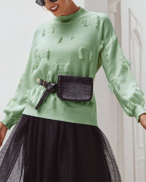 Slim-fit Lantern Sleeve Sweater - Green oh!My Lady