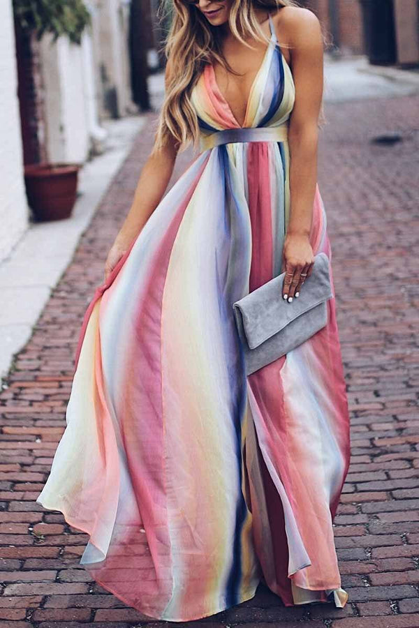 Sling Bohemian Print Maxi Dress ohmylady/Dresses - x OML S Pink