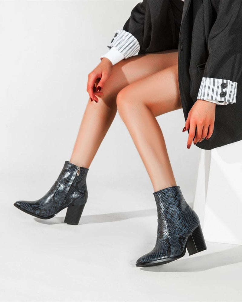 Snakeskin Pattern Pointed Boots - Blue oh!My Lady