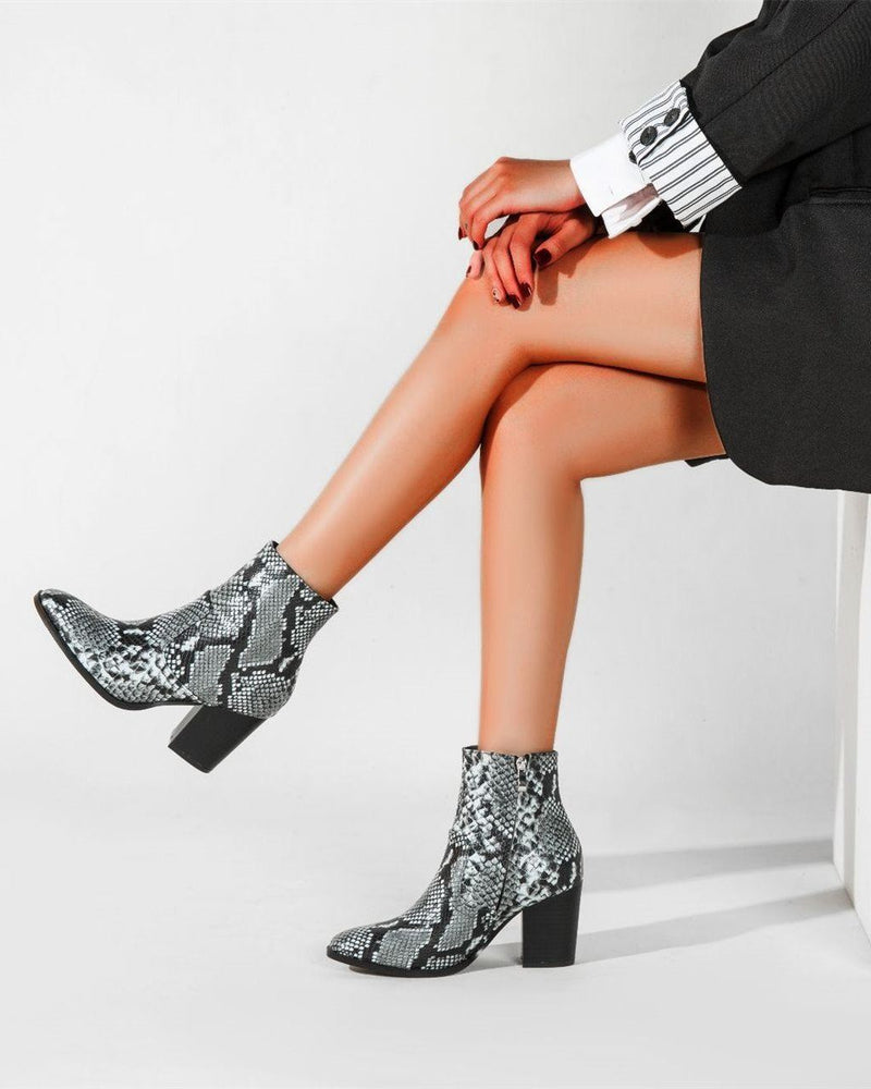 Snakeskin Pattern Pointed Boots - Grey oh!My Lady