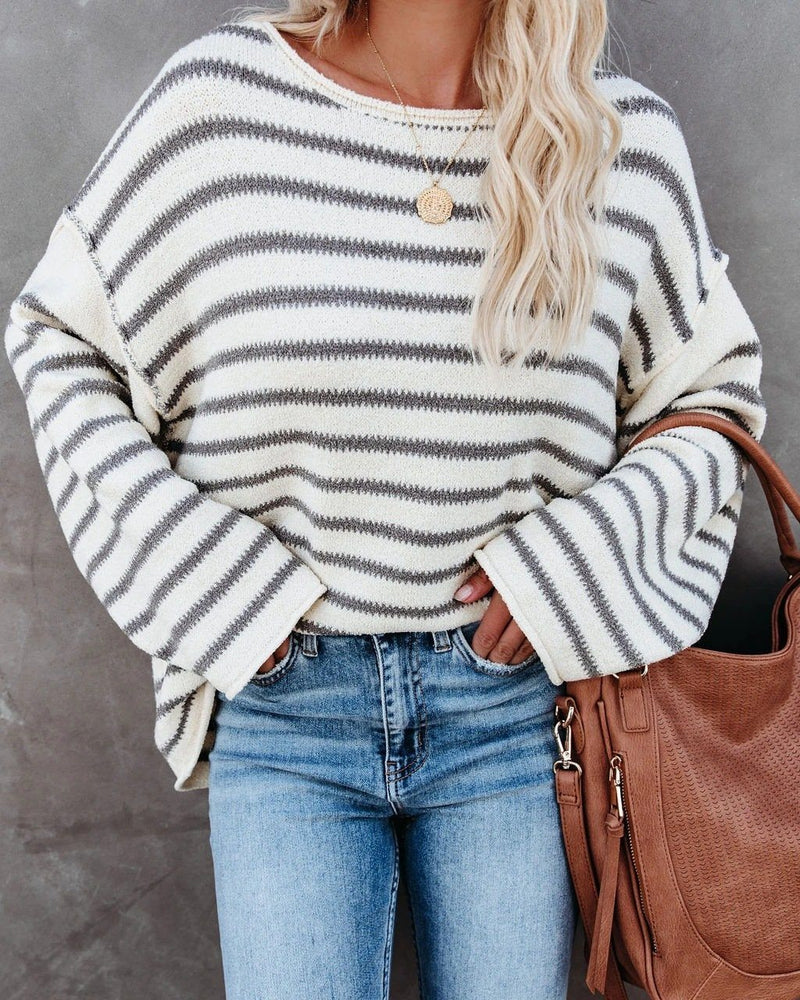 Snuggle Season Striped Knitted Sweater oh!My Lady