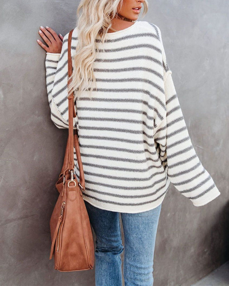 Snuggle Season Striped Knitted Sweater Sweaters oh!My Lady