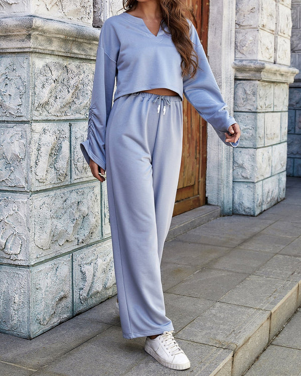 Sports Sprit Cozy Long Sleeves Suit - Light Blue oh!My Lady