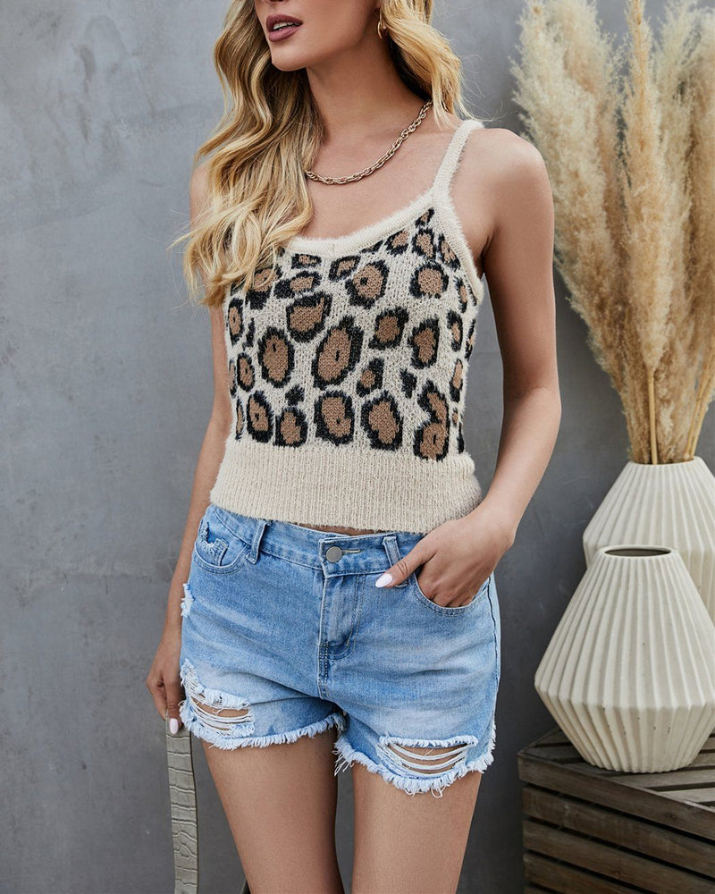 Step Aside Leopard Print Knit Tank Top - Khaki Women Tops oh!My Lady