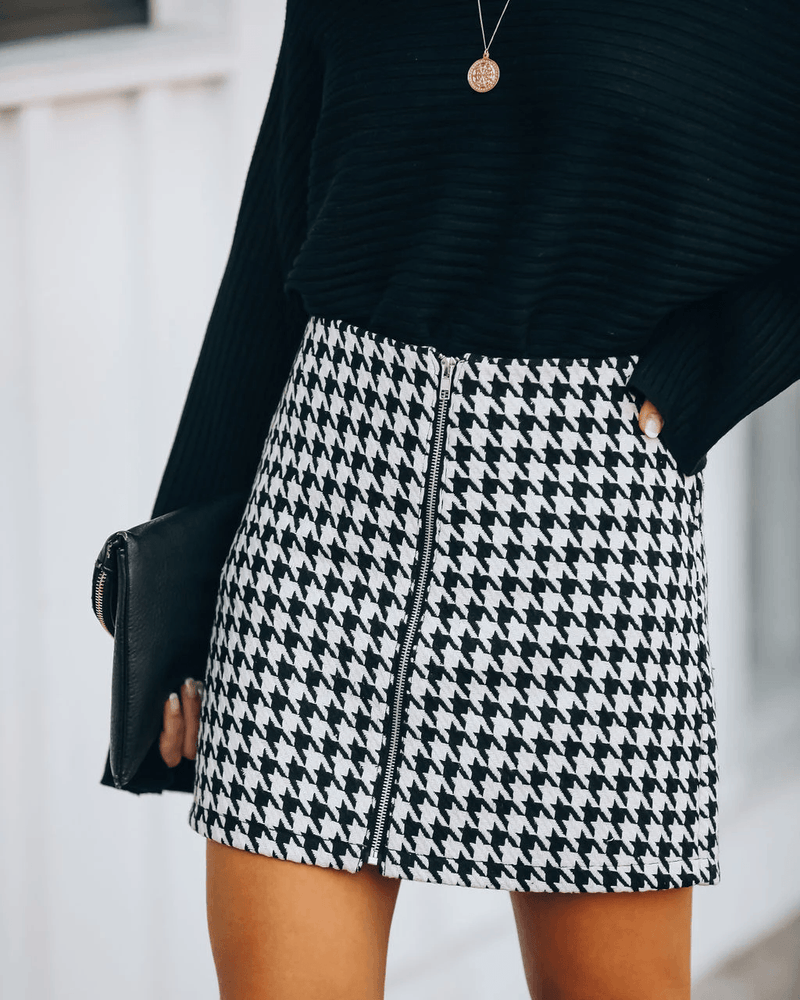 Strike A Chord Houndstooth Zip Mini Skirt oh!My Lady