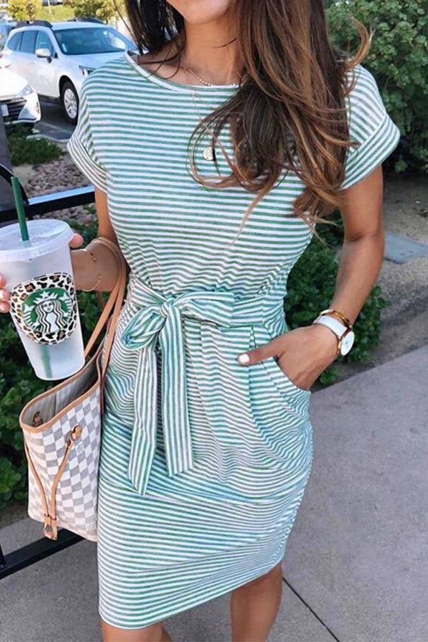 Striped Knot Design Grey Midi Dress Florcoo/Dresses OML S Green