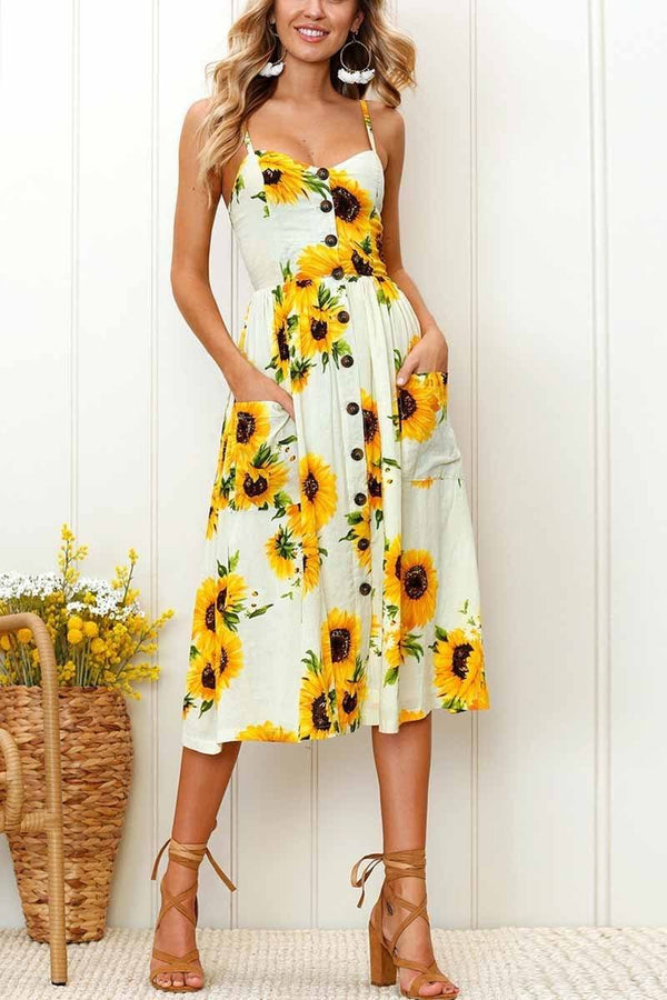 Sunflower Print Camisole Dress ohmylady/Dresses OML S Beige