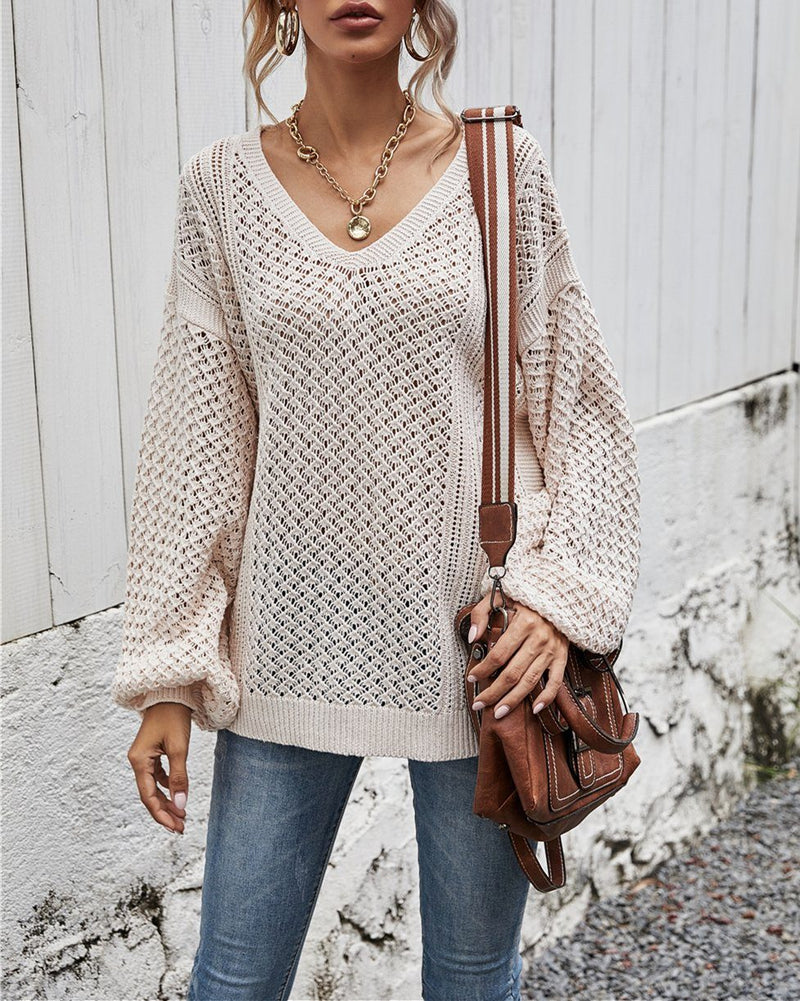 Take Me Back V Neck Cut Out Sweater - Apricot Sweaters oh!My Lady