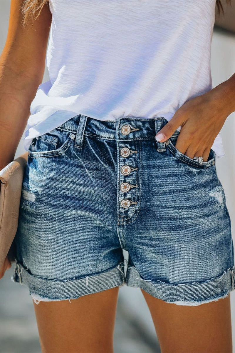 Tempo High Rise Cuffed Denim Shorts ss-VCB OML