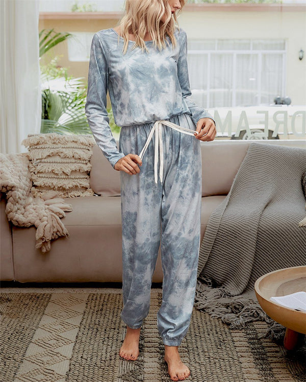Tie-Dyed Cozy Jumpsuit - Ink Grey oh!My Lady