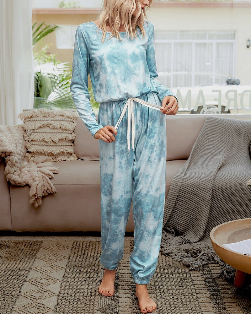 Tie-Dyed Cozy Jumpsuit - Sunny Blue oh!My Lady