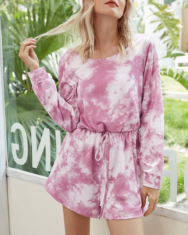 Tie-Dyed Mid Waist Jumpsuit - Pink Bubble oh!My Lady
