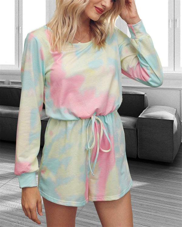 Tie-Dyed Mid Waist Jumpsuit - Rainbow Bridge oh!My Lady