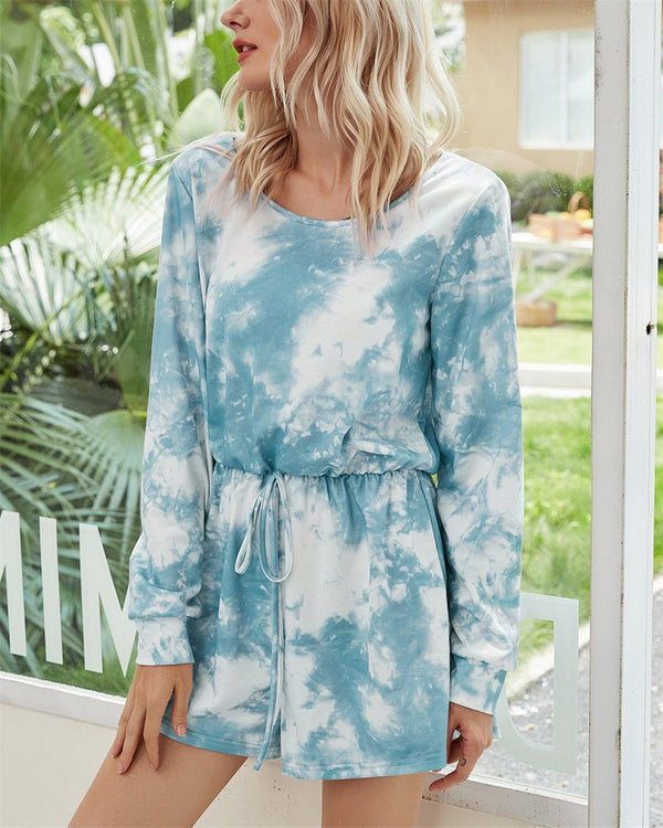 Tie-Dyed Mid Waist Jumpsuit - Sky Blue oh!My Lady