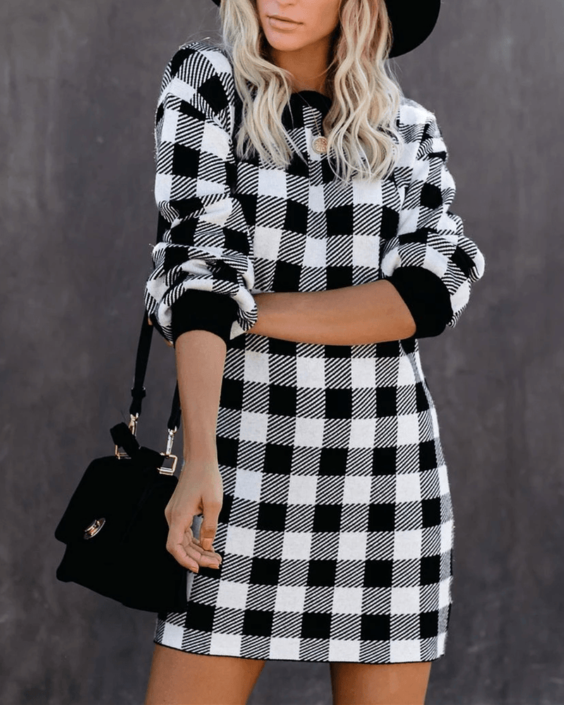 Times Square Gingham Sweater Dress oh!My Lady