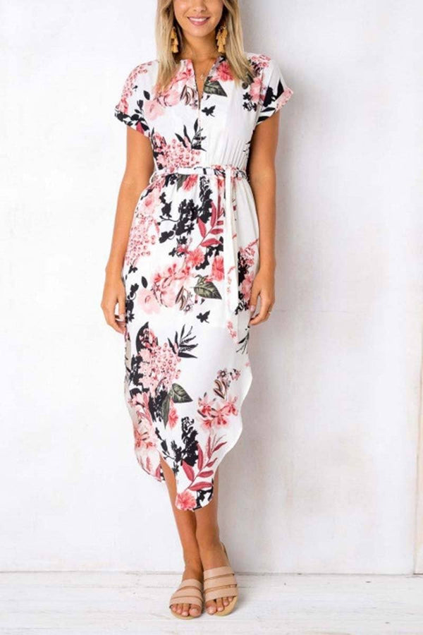 Trendy Printed Asymmetrical Midi Dress(3 colors) ohmylady/Dresses OML Pink S