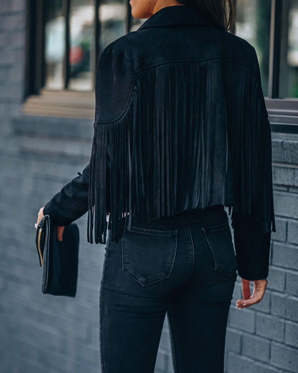Walford Cropped Fringe Faux Suede Jacket - Black Sweaters oh!My Lady
