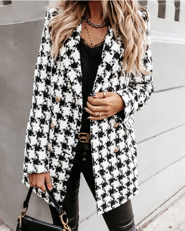 Want To See You Vancouver Houndstooth Woolen Coat - White/Black Outerwears oh!My Lady