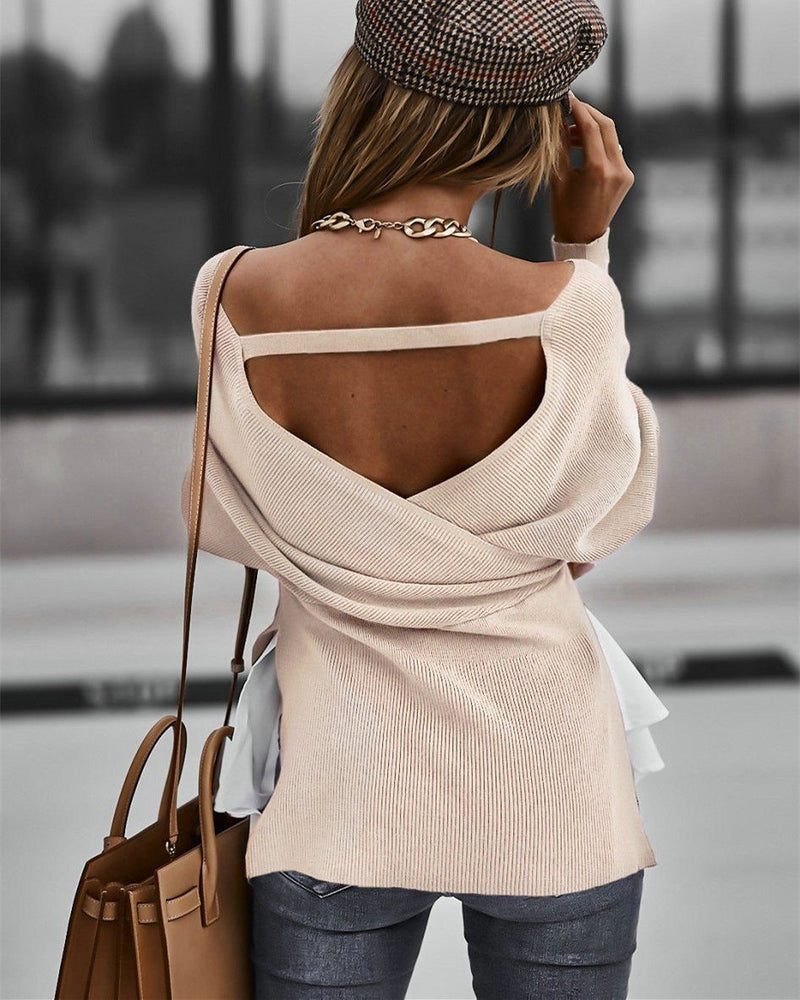 Wherever You Go Deep V-Neck Sweater - Light Khaki oh!My Lady