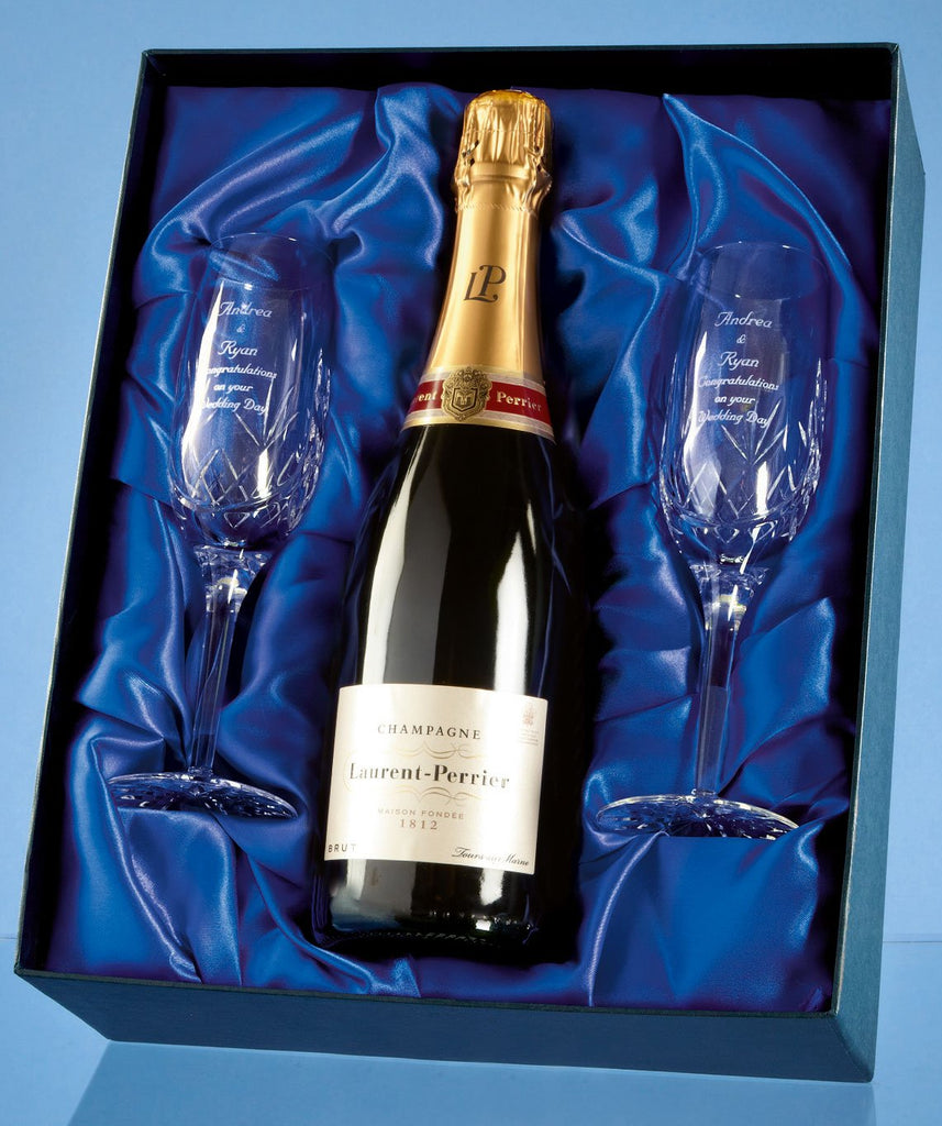 personalised champagne flutes in satin lined gift box