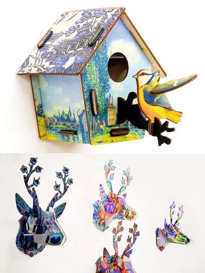 3D Craft Kits. Bird Boxes & Deer Heads in Wood or Acrylic