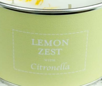 Triple Wick Pastels Candle in Tin - Lemon Zest With Citronella