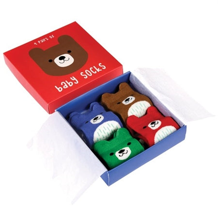 Pack Of 4 Bear Baby Socks - Culzean Gifts