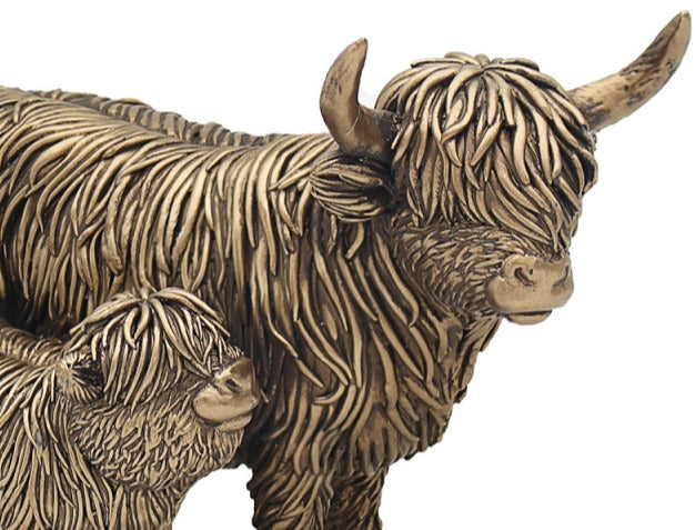 Bronzed Highland Cow And Calf Ornament