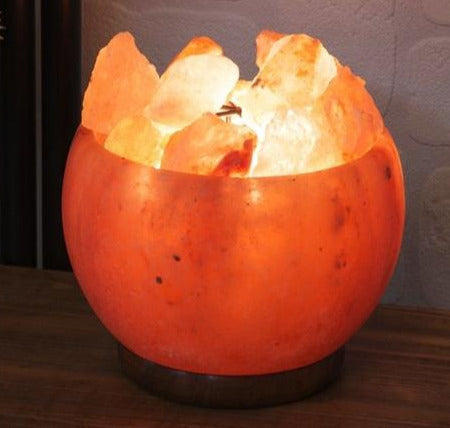 Himalayan Salt Rock Fire Basket Lamp