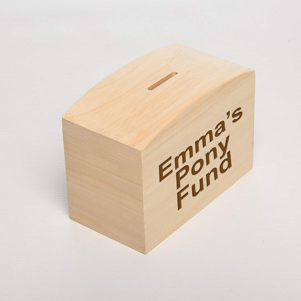 Engraved Personalised Wood Money Box - Culzean Gifts