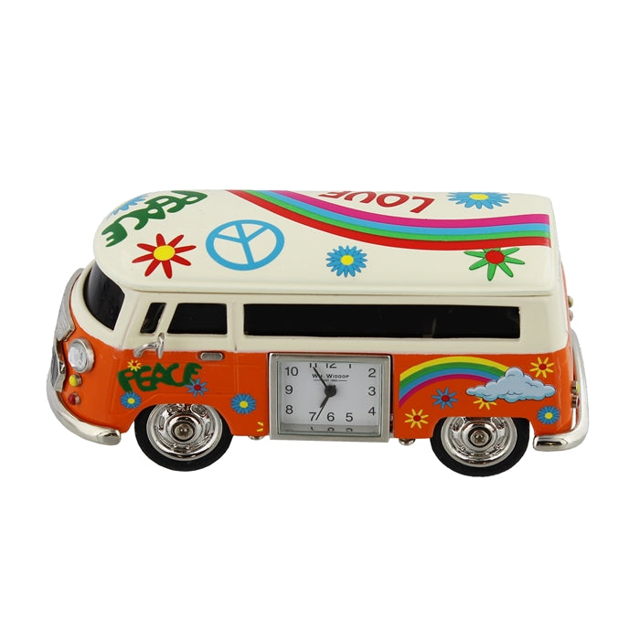 Miniature Orange Camper Van Clock