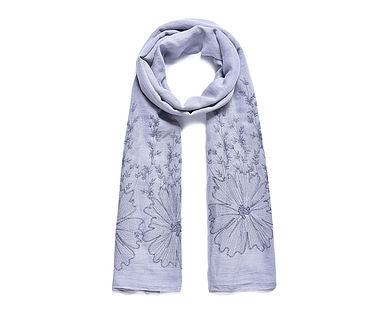 Grey Embroidered Scarf 180cm
