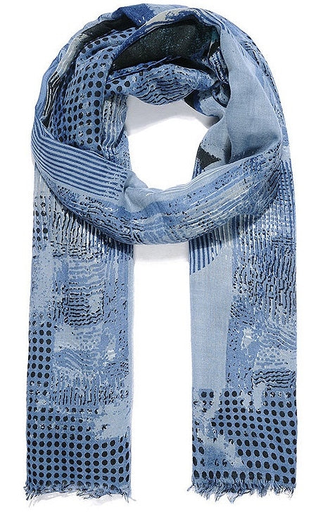 Blue Abstract Scarf 180cm