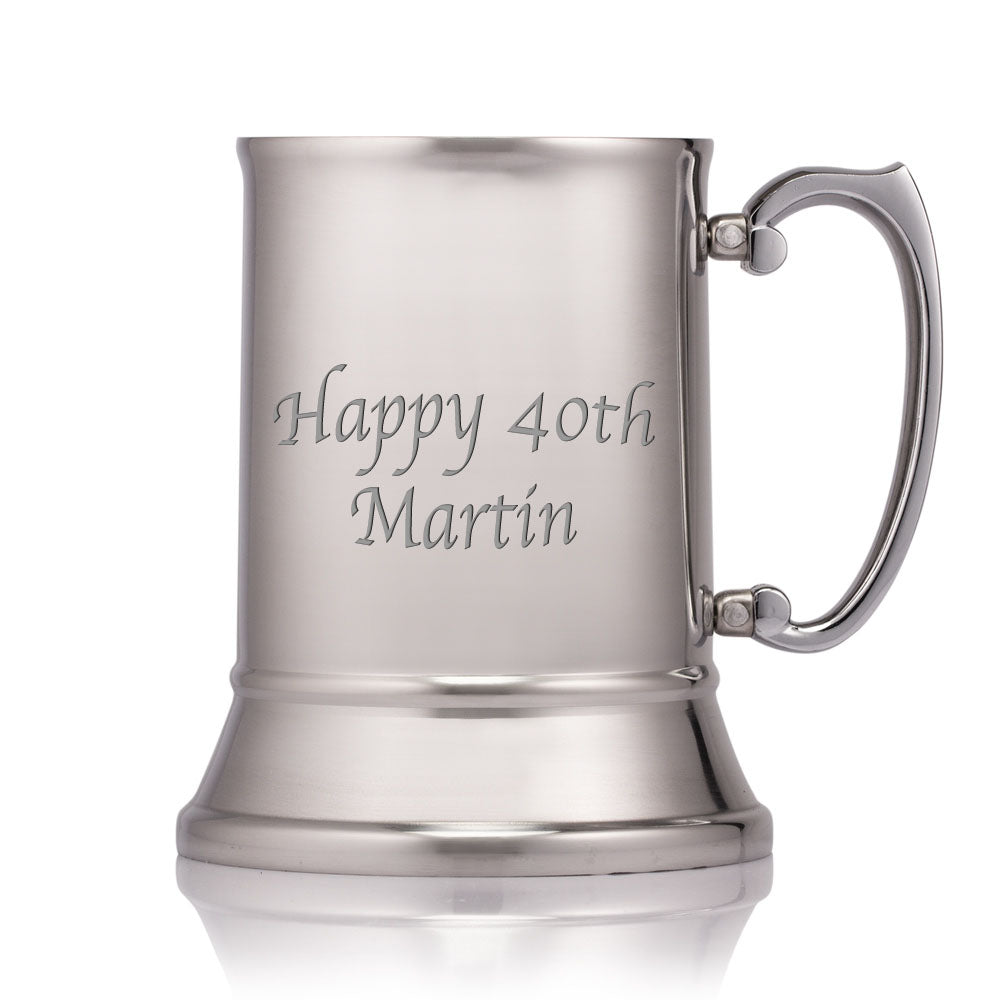 Engraved Personalised Polished Stainless Steel 1 Pint Tankard