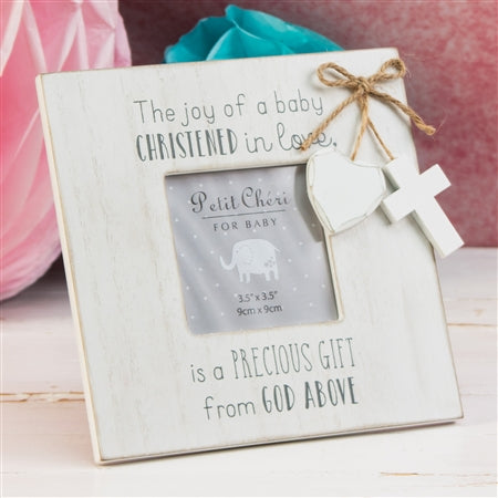 MDF Christening Frame With Hanging Tags 19cm
