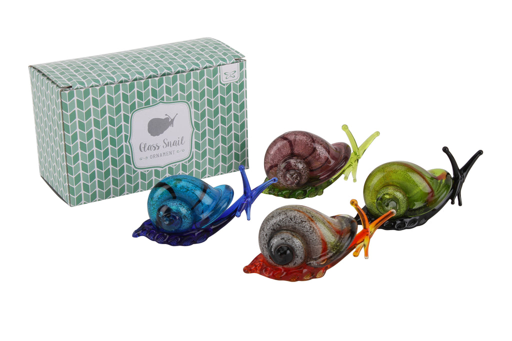 4 Different Coloured Glass Model Snail Ornaments 3.5cm