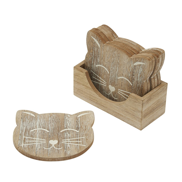 Cat Carved Wooden Coasters