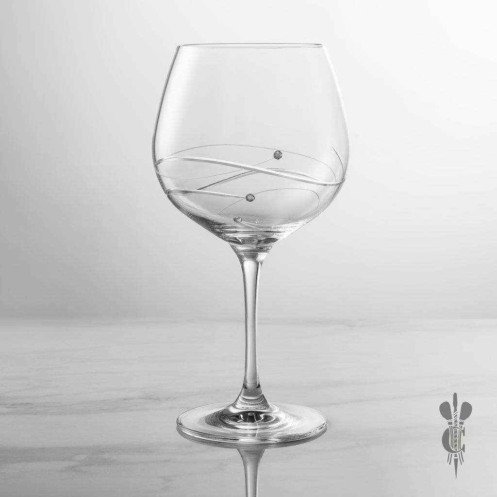Single Diamante Personalised Gin Glass with Spiral Design Cutting - Engraved - Culzean Gifts