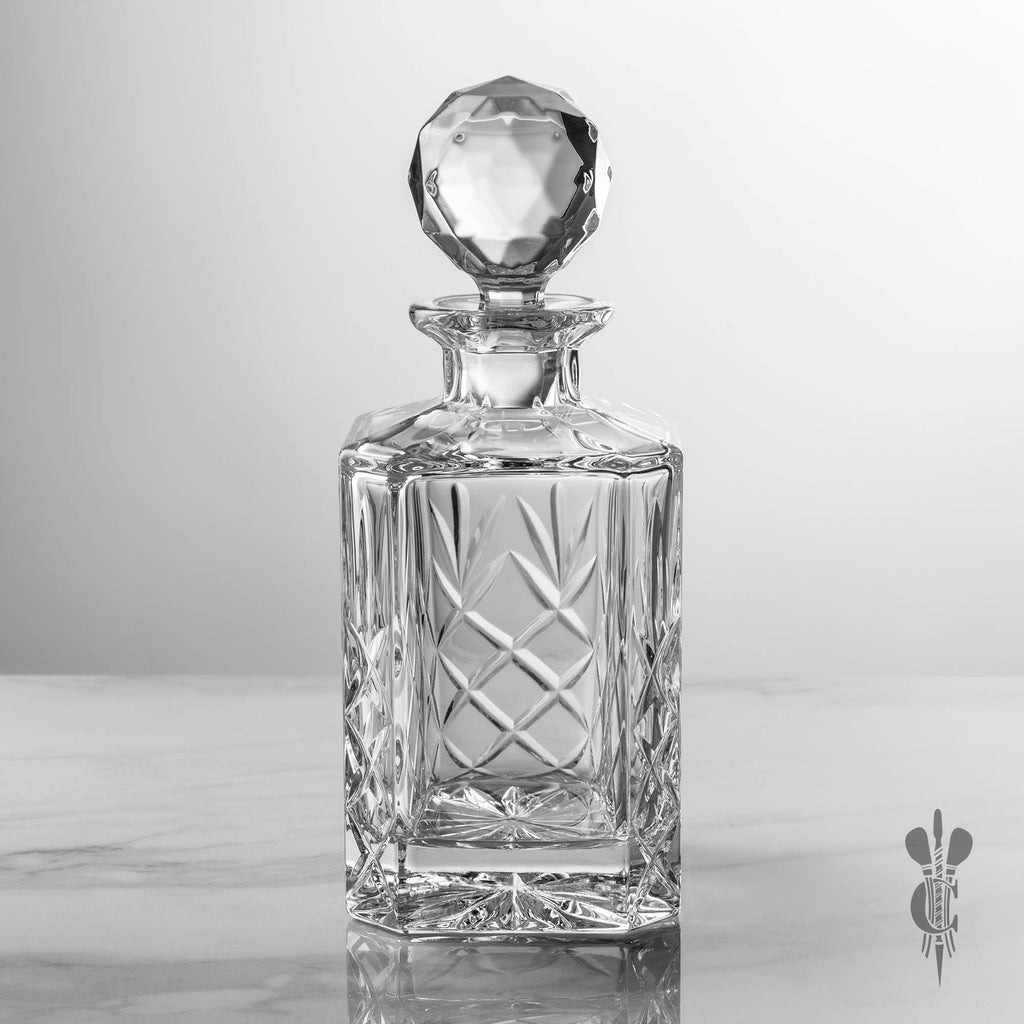 Blenheim Lead Crystal Panel Square Spirit Decanter - Personalised Glass Engraved - Culzean Gifts