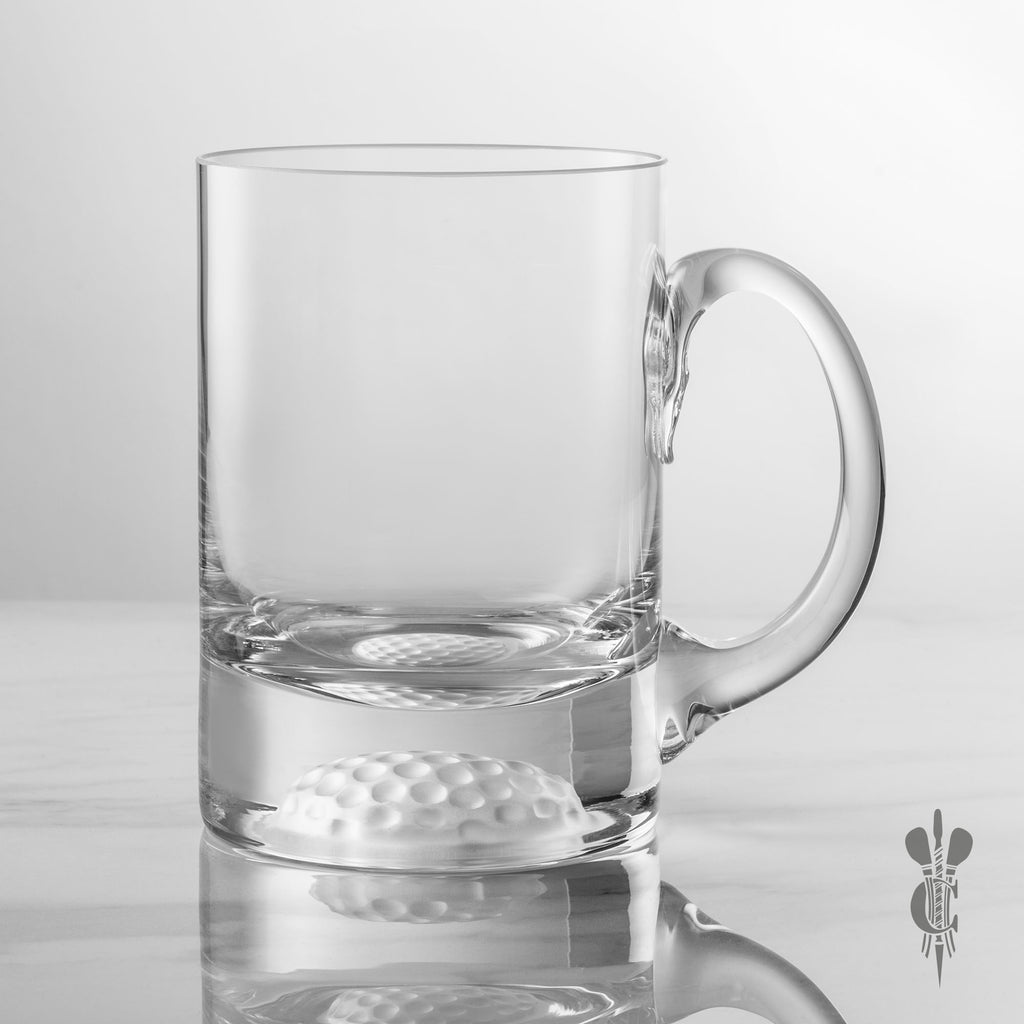 1 Pint Handmade Golf Ball Base Tankard Glass - Personalised Engraved - Culzean Gifts