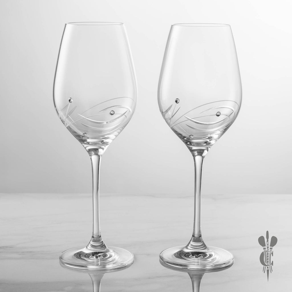 2 Diamante Personalised Engraved Wine Glasses in a Satin Lined Gift Box - Engraved - Culzean Gifts