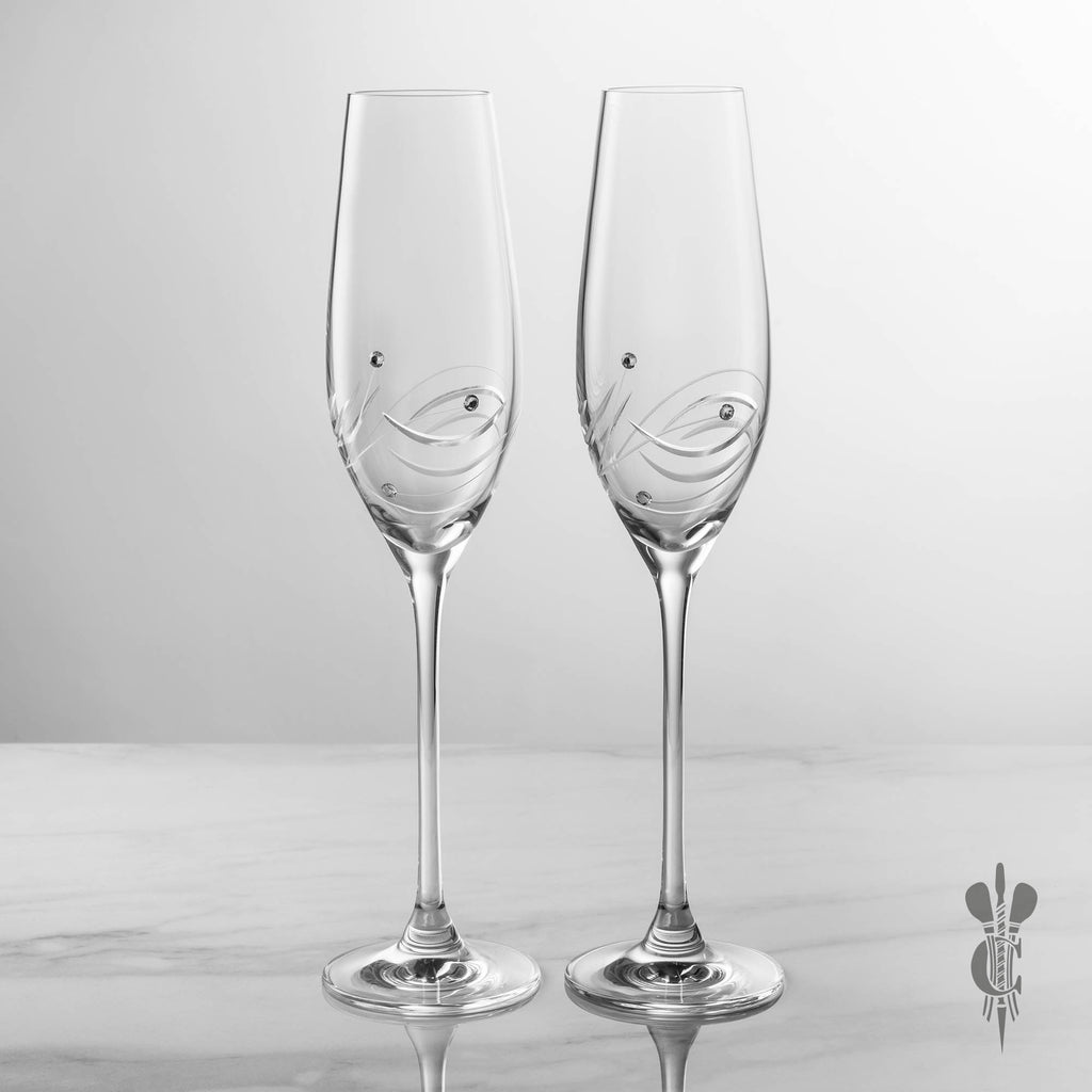 engraved champagne flutes services