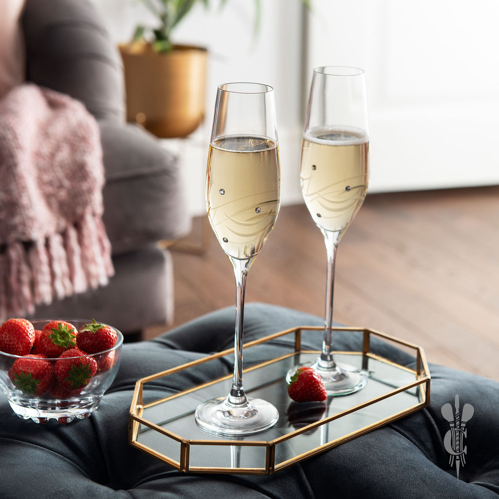 2 Personalised Engraved Champagne Flutes - Culzean Gifts