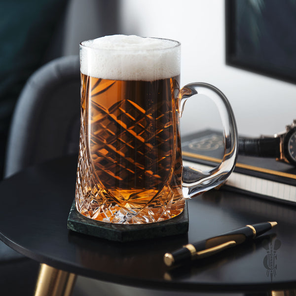 Beautiful Lead Crystal Sloped Panel Tankard - Engraved Glass - Engraved pint glass - - Culzean Gifts