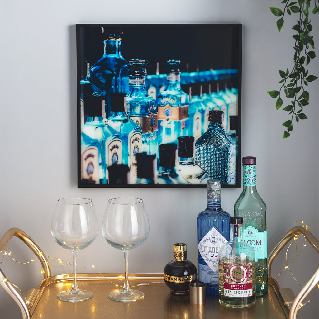40cm x 40cm Framed Bombay Sapphire - Direct Print to Glass - Culzean Gifts