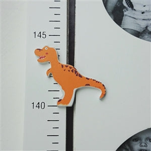 Wooden Dinosaur Height Chart with Photos & Magnetic Slider
