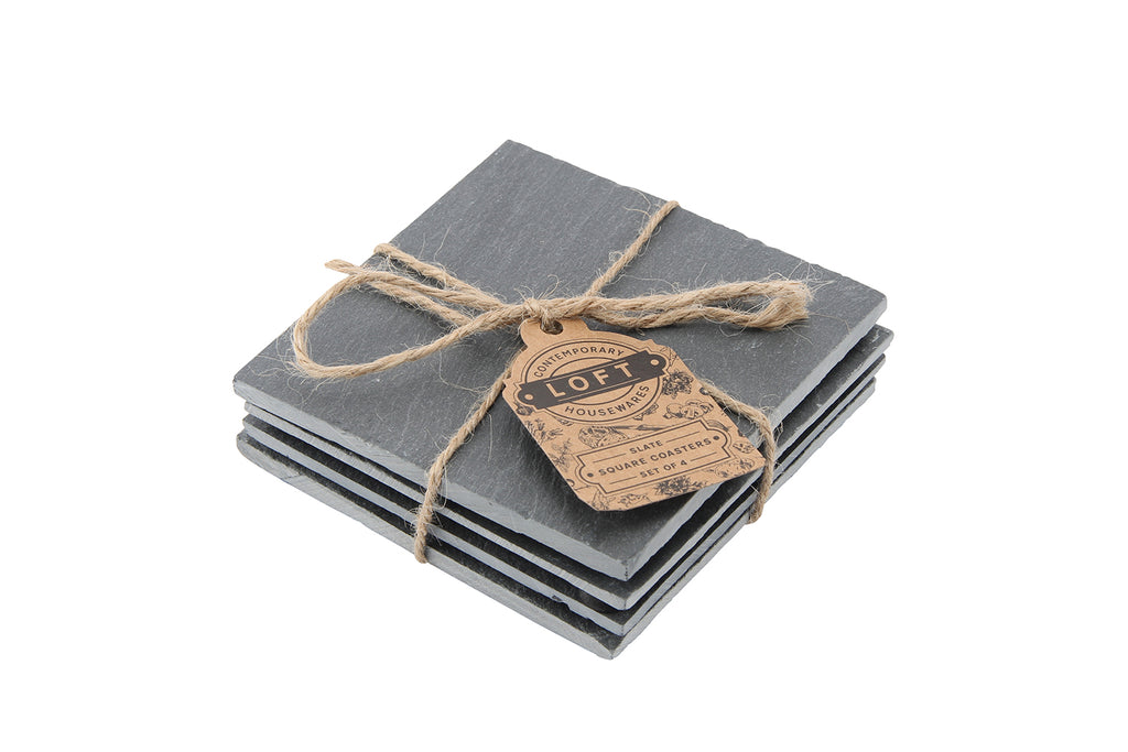 Engraved Personalised Loft Set of 4 Slate Square Coasters - Culzean Gifts
