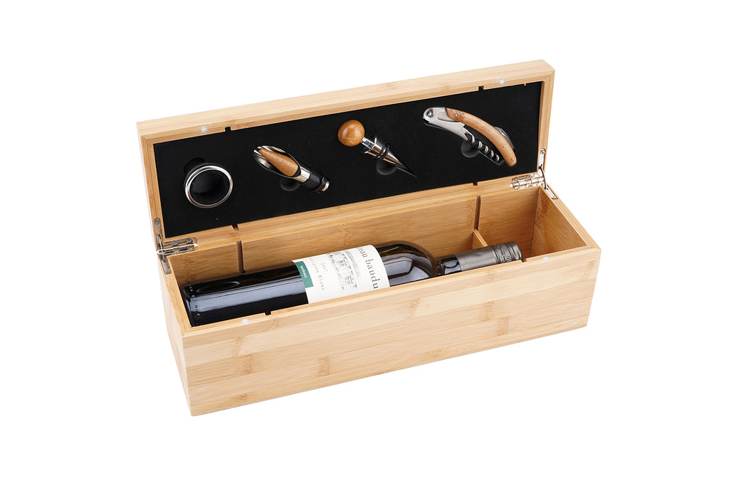 Engraved Personalised 4 Piece Luxury Wine Tools and Hinged Bottle Box - Culzean Gifts