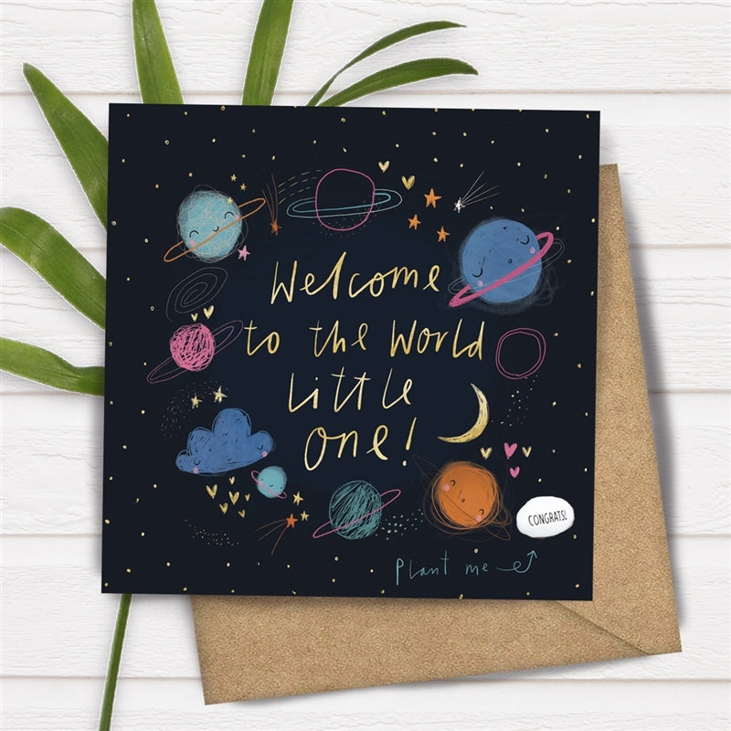 Card With Magic Growing Bean - Welcome To The World