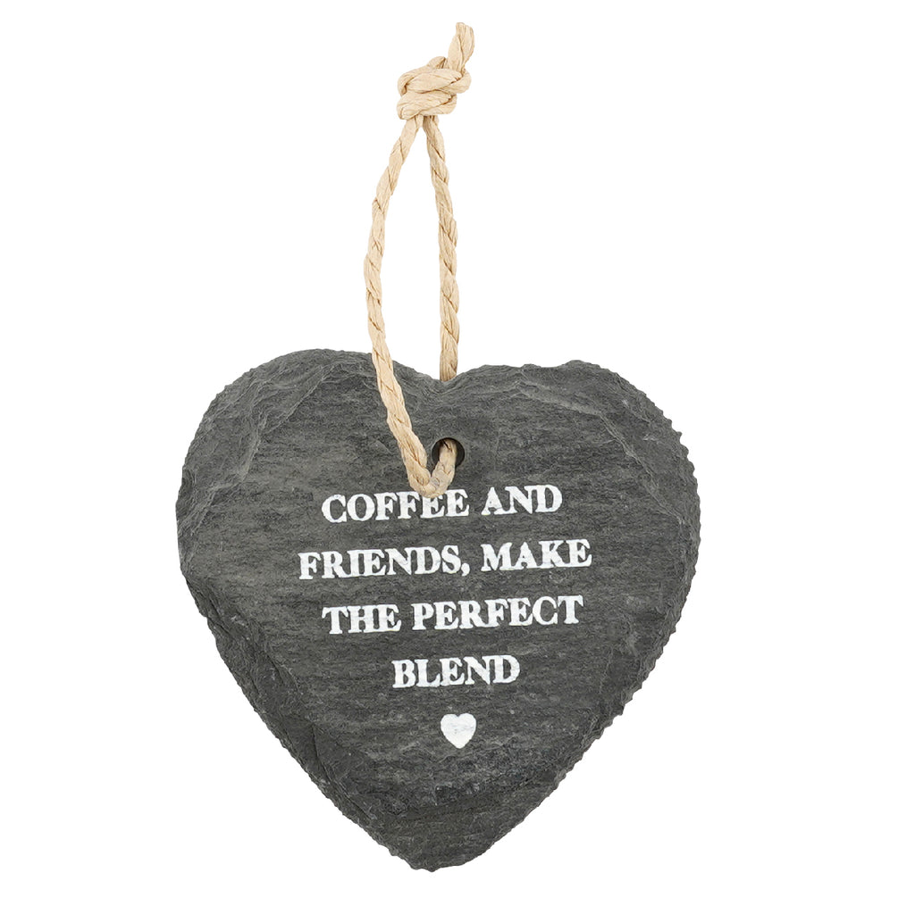 Loft Slate Hanging Slate Heart With Warming Message - Culzean Gifts